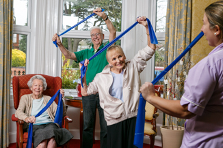 Residents enjoying light exercise